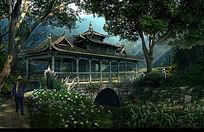 古典廊桥景观效果图