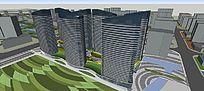 商业综合体地块概念方案设计 skp