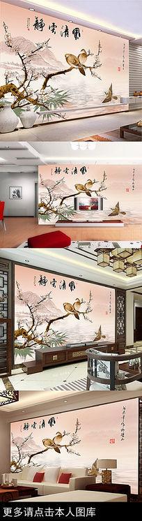喜鹊梅花闹枝头古典中国风电视背景墙