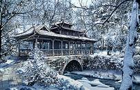 雪中廊桥景观效果图