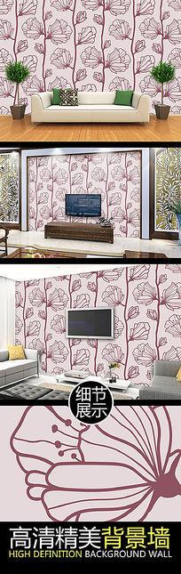 手绘线描花卉艺术连续图案矢量背景墙