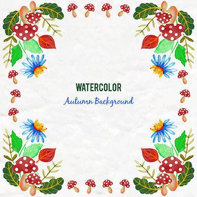 水彩边角花边装饰背景手绘蓝色花卉矢量素材
