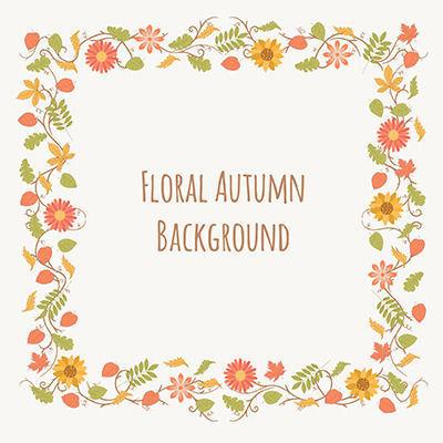折页秋季花边正方形边框矢量素材