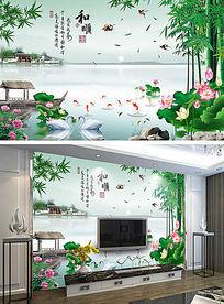 竹报平安山水背景墙