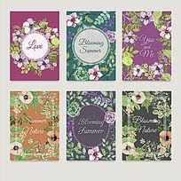 复古风格的花卉背景卡片模版