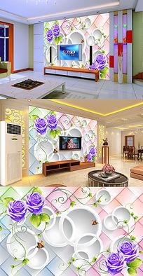 紫色玫瑰花绿藤圆圈软包电视背景墙