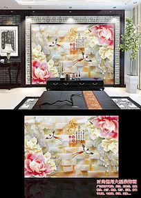 家和富贵玉雕牡丹中式背景墙贴图