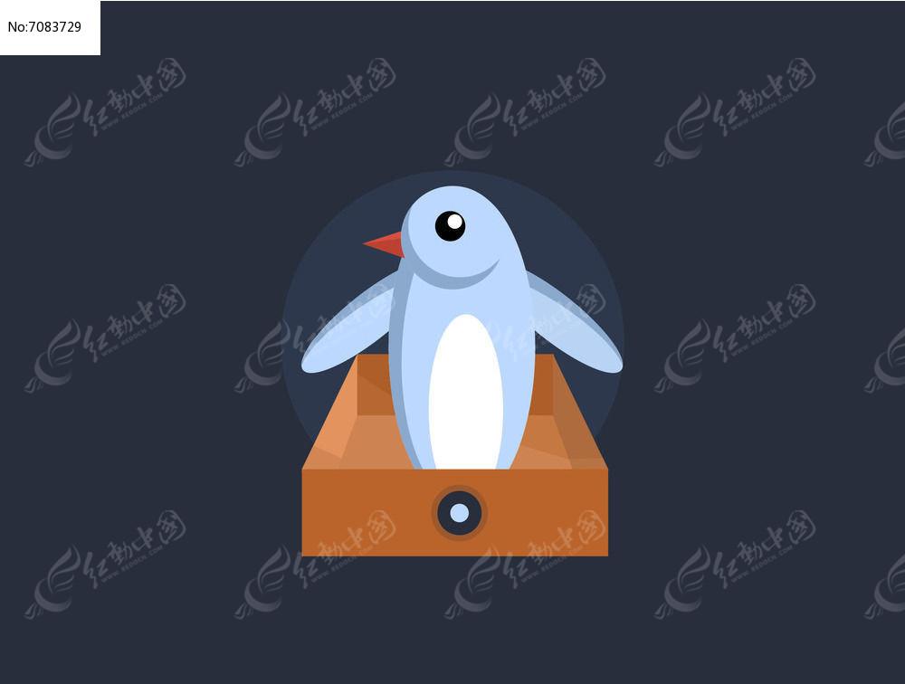 可爱几何卡通企鹅矢量插画素材