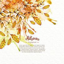水彩秋天的树叶背景花纹插画