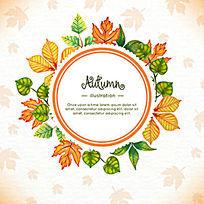 水彩秋天的树叶标题设计花纹插画