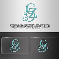 线条柔美GZC字母LOGO