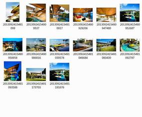 新加坡度假海景别墅庭院景观