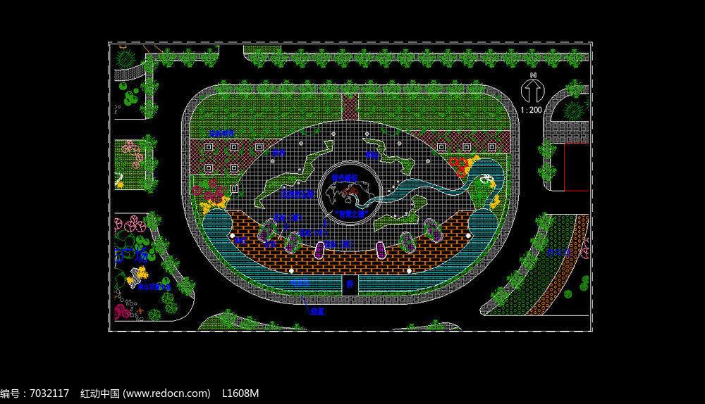 中心广场景观设计总平面图dwg素材下载