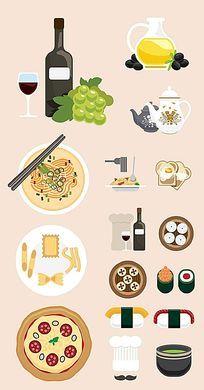 扁平化美食图标元素