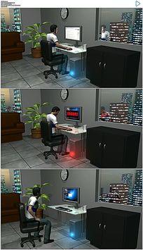 三维电脑故障踢打电脑视频素材