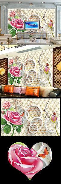 时尚玫瑰壁画客厅电视背景墙