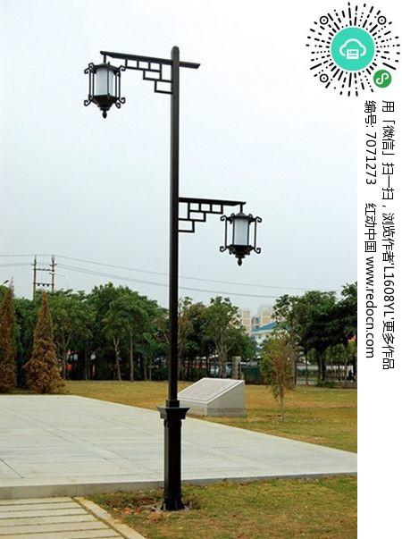 中式高低两头街灯图片