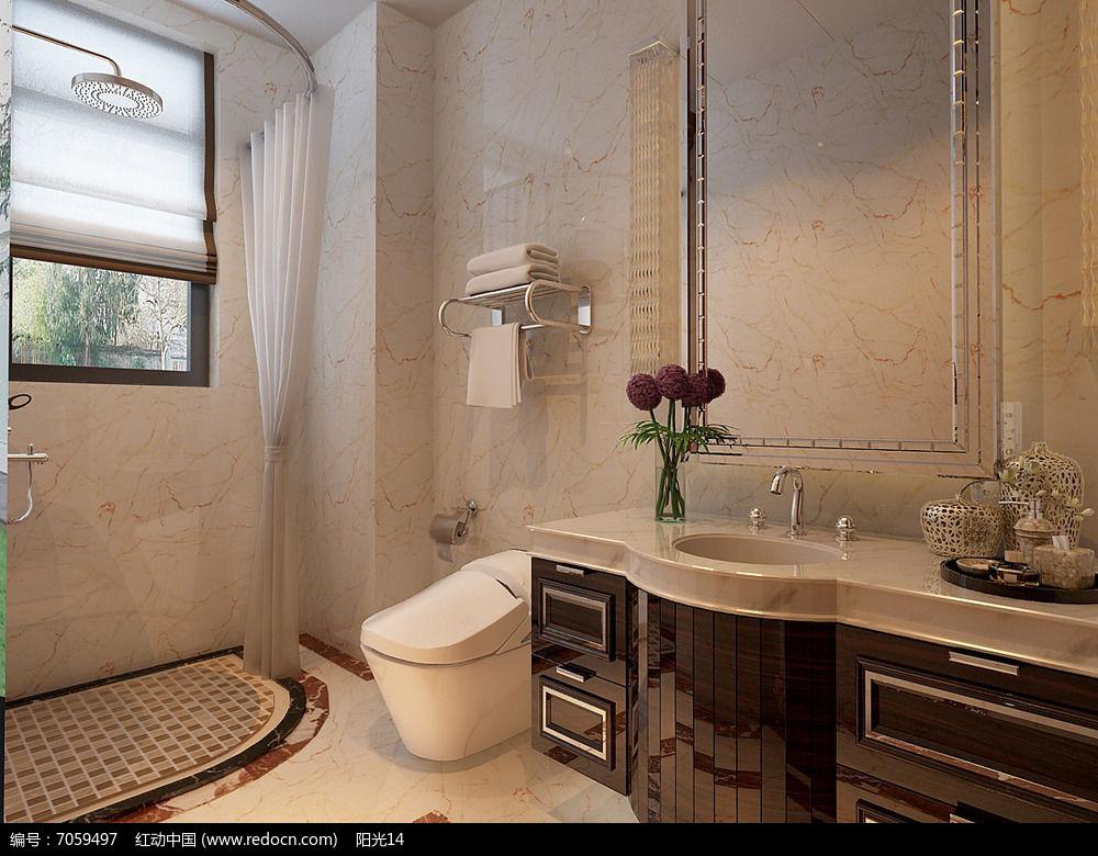 原创设计稿 3d模型库 室内装修 欧式卫生间图片