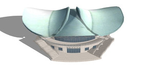 翅膀造型体育馆模型