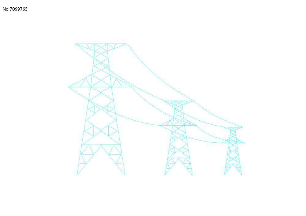 高压电线塔电力塔矢量图