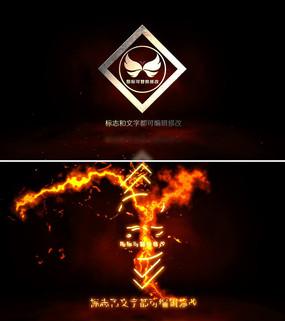火焰粒子金属质感logo演绎ae模板