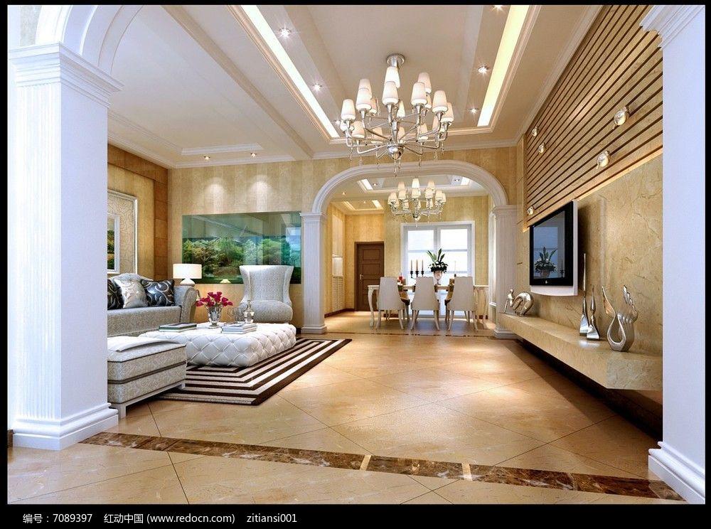简单大气欧式客厅效果图3dmax素材下载_室内装修设计