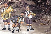 三人音乐创意演奏卡通画