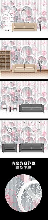 时尚3D手绘菊花客厅电视背景墙