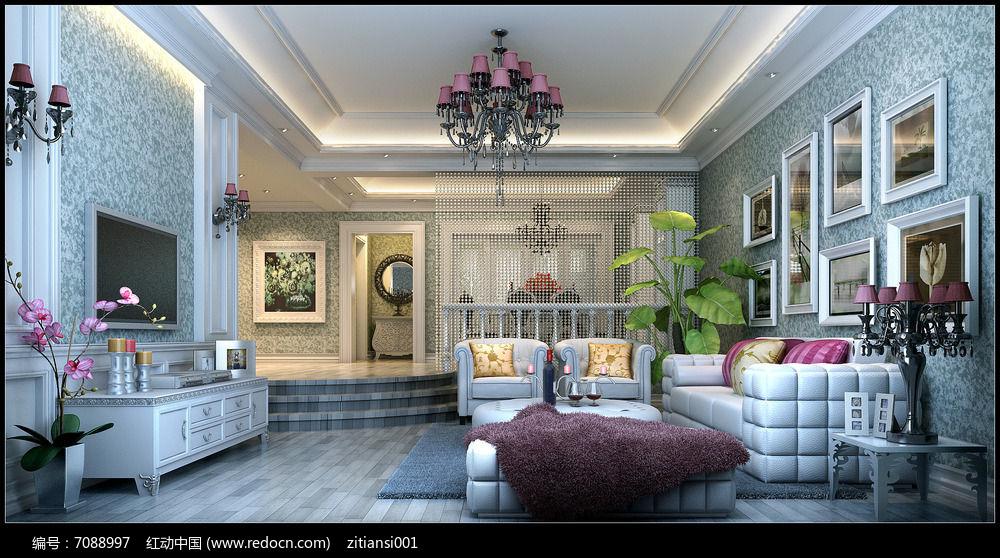 现代欧式别墅客厅效果图3dmax素材下载_室内装修设计