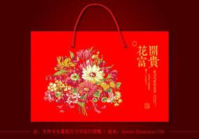 红色中国风喜庆春节礼品手提袋设计 AI