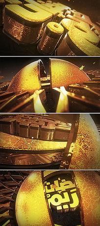 3d金色金属质感logo标志文字ae模板