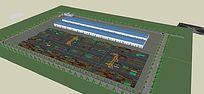 集装箱生产工厂模型 skp