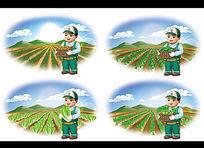 绿色种植收获的卡通形象设计