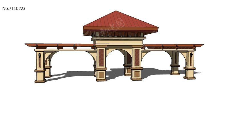 欧式红顶住宅小区三拱大门skp素材下载