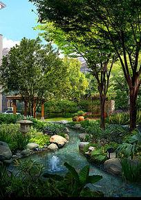 庭院溪流效果图