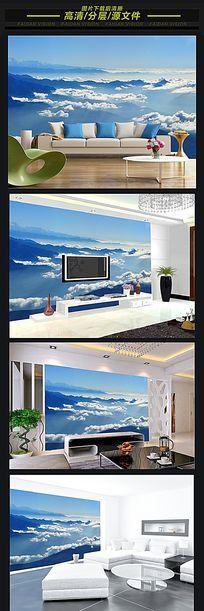 云海仙境背景墙装饰画