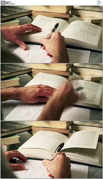 看书写字做题研究课题实拍视频素材