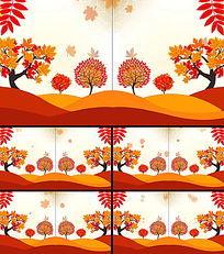 卡通秋季落叶视频