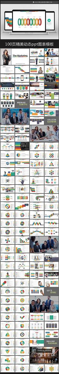 100页简洁多彩精美商务专用ppt图表合集打包模板