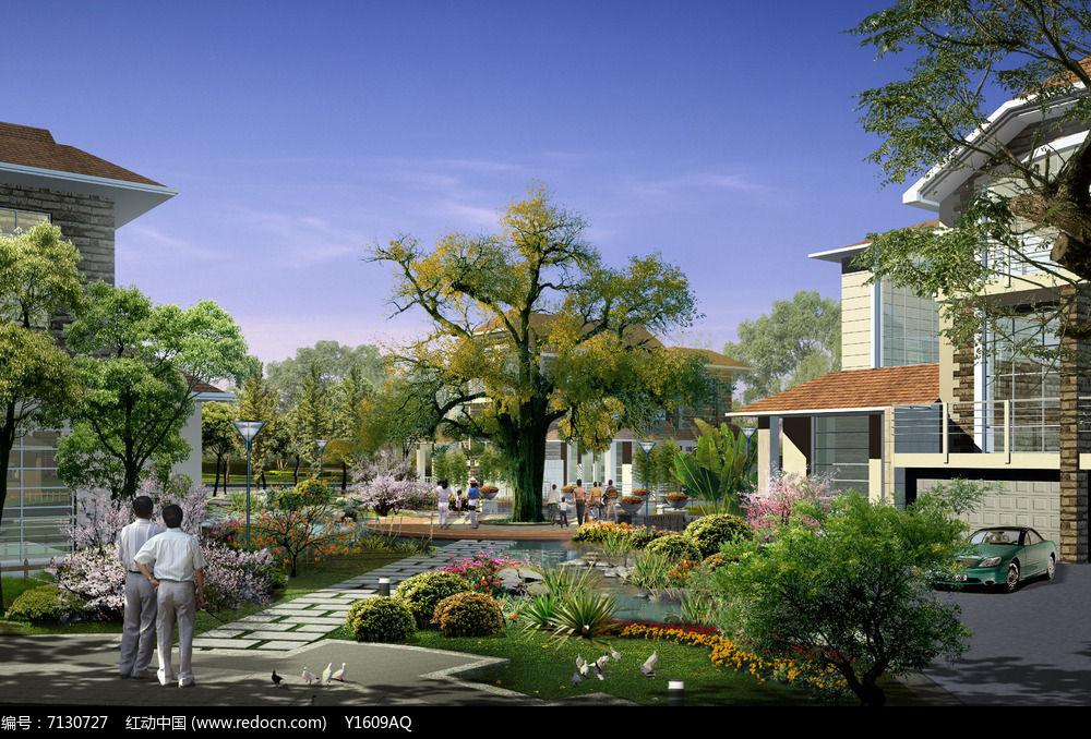 别墅绿化带 效果图