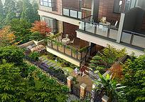 别墅小庭院鸟瞰图