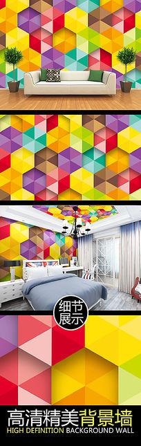 彩色六边形艺术图案儿童房矢量背景墙