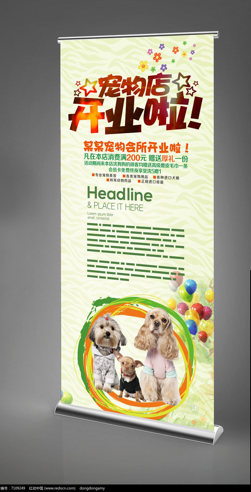 宠物店开业x展架模板设计