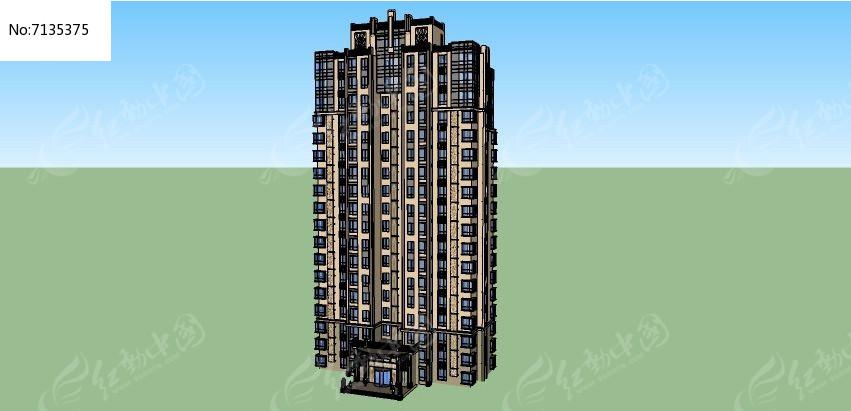 欧式简约住宅楼skp素材下载_建筑设计图片