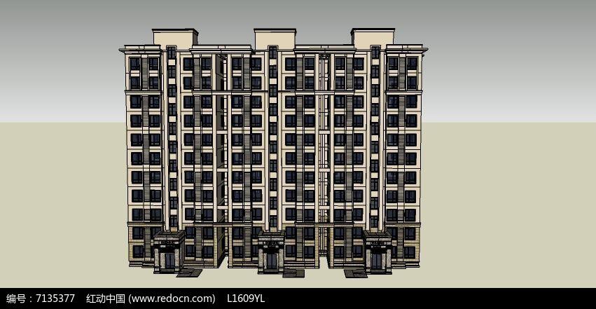 欧式现代小高层su建筑
