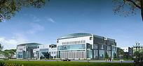 办公楼建筑效果图 PSD