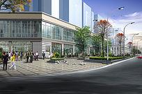 办公商业街景 PSD