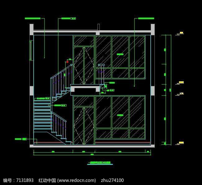 复式楼梯及楼梯柜立面图