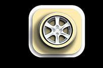 黄色轮胎按钮小素材 PSD