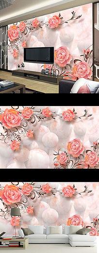 梦幻花朵3D立体壁画电视背景墙